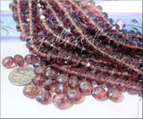25 Faceted Purple Rondelles, Czech Glass Picasso Beads, Fire Polished Beads, 6mm x9mm Rondelles