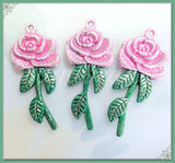 3 Pretty Pink and Green hand Painted Rose Pendants