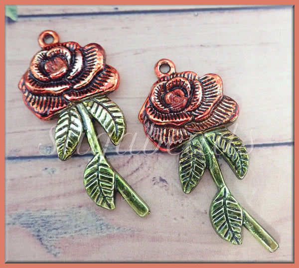 2 Sweet Orange and Green Rose Pendants