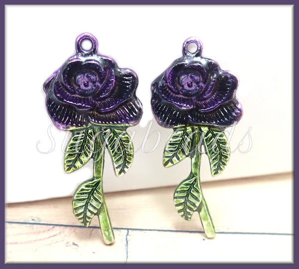 2 Purple Rose Pendants, Hand Painted Pendants