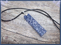 Shimmering Blue Column Necklace, Blue Rectangle Resin Necklace