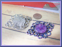 2 Filigree Connectors, Blue Filigree Charm, Purple Filigree Pendants, Altered Pendants