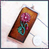 Resin Pendant with Raspberry Pink Flower set in Resin