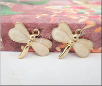 4 Gold Tone Light Pink Peach Enamel Dragonfly Charms 27mm