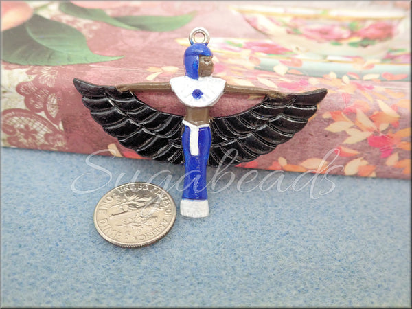Hand Painted Lapis Blue, Black & White Winged Egyptian Goddess Pendant 56mm