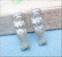Czech Glass Mermaid Beads, Matte Grey Mermaid Beads with Silver Wash
