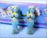 Czech Glass Mermaid Beads, Sky Blue Mermaid Beads with Bronze Wash
