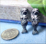 Czech Glass Silver and Black Mermaid Beads, Black Mermaid with Silver Wash