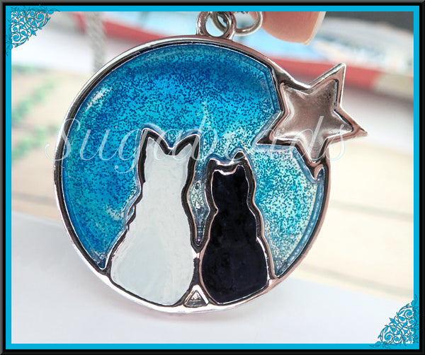 Blue Night Sky Cat Pendant, Resin Moonlight Sky Pendant