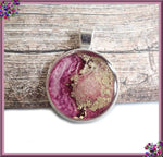 Abstract Artwork Pendant, Pink Inked Pendant, Resin Pendant, Alcohol Ink Pendant, Round Silver Pendant