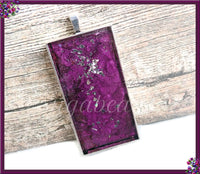 Rectangle Purple Resin Art Pendant, Abstract Art Pendant, Alcohol Ink Pendant