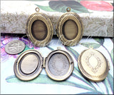2 Oval Lockets with Cabochon setting - Brass Plated over Copper 34mm x 24mm PB23