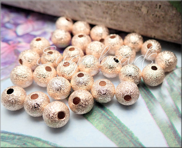 50 Light Rose Gold Stardust Beads 6mm made from Brass, PS314