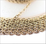 Antiqued Gold Tierra Cast Chain, 2 feet Brass Cable Chain 2mm x 3mm