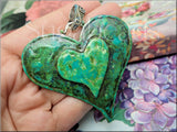 Large Weathered Heart Pendant, Faux Patina Heart, Altered Art Pendant
