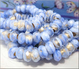 Corn Flower Blue Czech Roller Beads, Large Hole Beads
