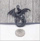 Matte Black Dragon Pendant, Patina Dragon Pendant, Gunmetal Black Dragon