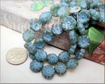 6 Czech Glass Etched Hibiscus Flower Beads w Turquoise Wash