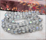 25 Large Hole Melon Beads, Transparent with Silver Wash and AB Finish