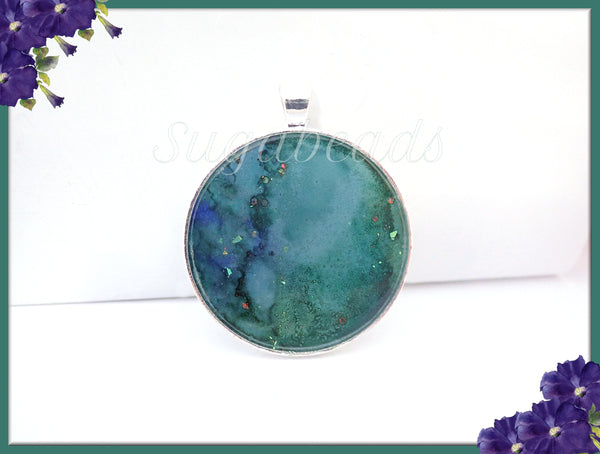 Sea Green Abstract Art Pendant, Resin Pendant, Handmade Artwork Pendant - sugabeads