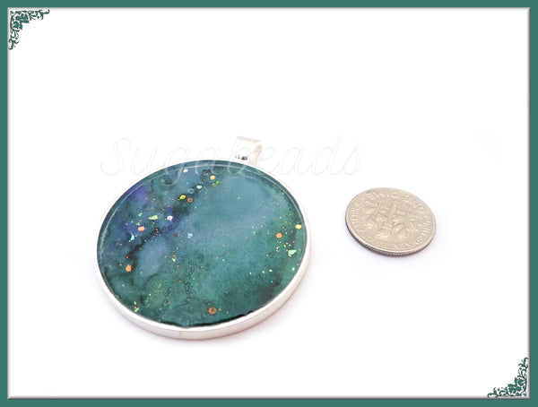 Sea Green Abstract Art Pendant, Resin Pendant, Handmade Artwork Pendant