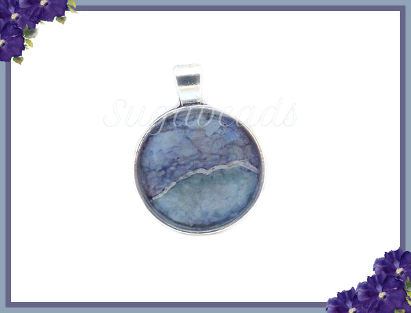 Stormy Day, Purple & Blue Pendant, Abstract Art Pendant, Alcohol Ink Pendant