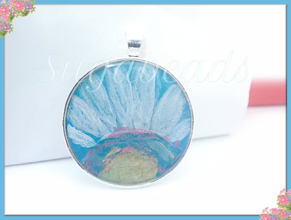 Sky Blue & White Flower Pendant, Daisy Pendant, Resin Pendant, Painted Flower Pendant