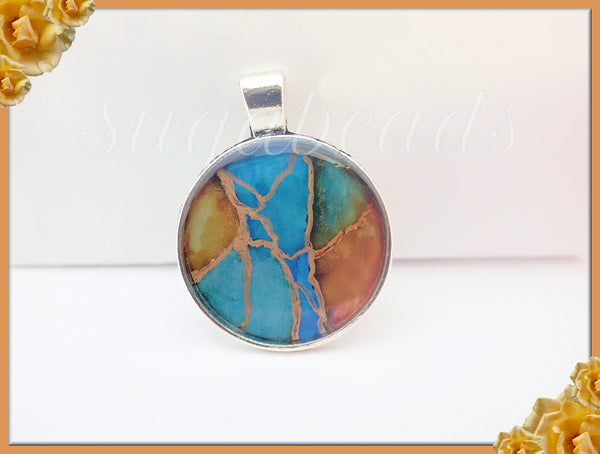 Blue, Green Abstract Artwork Pendant, Resin Pendant