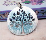 Large Frosty Blue & Pearl White Tree Pendant 70mm