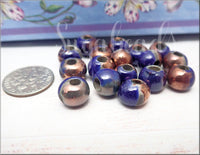 4 Mykonos Ceramic Kiln Fired Terra Cotta Beads, Midnight Blue & Copper