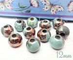 2 Raku Blue & Copper Mykonos Beads, 12mm Round Ceramic Beads, Handmade Beads w Large hole beads