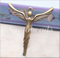 Antiqued Brass Mykonos Goddess Pendant, Angel Pendant