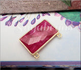 Rectangle Faceted Ruby Pendant set in 24kt Gold Vermeil Bezel 27mm