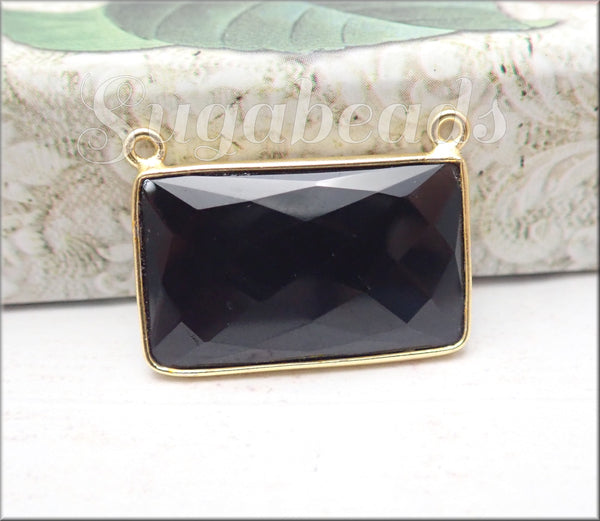 Rectangle Bar Pendant, Faceted Onyx Pendant set in 24kt Gold Vermeil Bezel 27mm