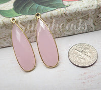 Faceted Pink Chalcedony Tear Drop Pendant, 22k Gold over Sterling Silver