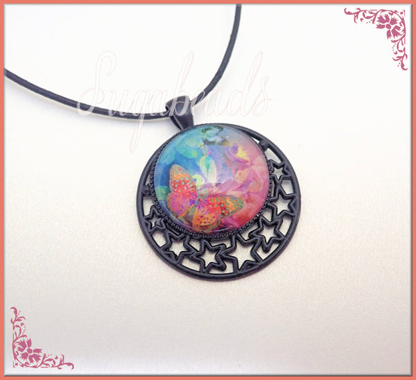 Pretty Pink, Blue, Orange Butterfly Necklace, Glass Dome & Black Leather Necklace