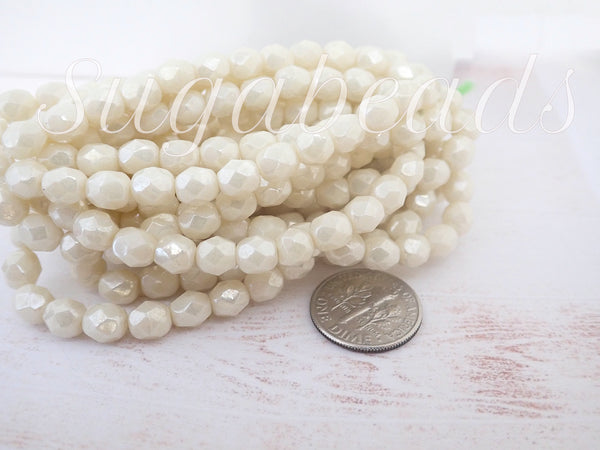 25 Czech Glass Fire Polished Ivory Beads, Antique Pearl Beige Beads, 6mm, CZN114