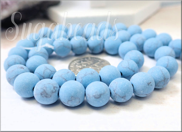 Turquoise Blue Matte Howlite Beads 8mm Full Strand