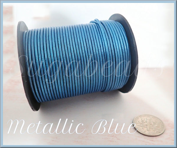 Metallic Blue Leather Cord 16 feet, 1.5mm Round Leather Cord