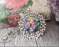 Glass Cabochon Butterfly Necklace, Flower Setting with Butterfly Pendant