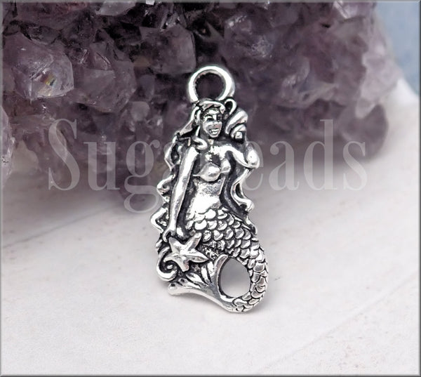 Tierracast Mermaid Charm, Silver Mermaid with Shell charm