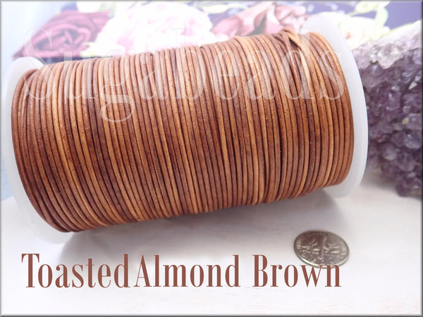 Toasted Almond Brown Leather Cord, 1.5mm Round Leather, 16 feet