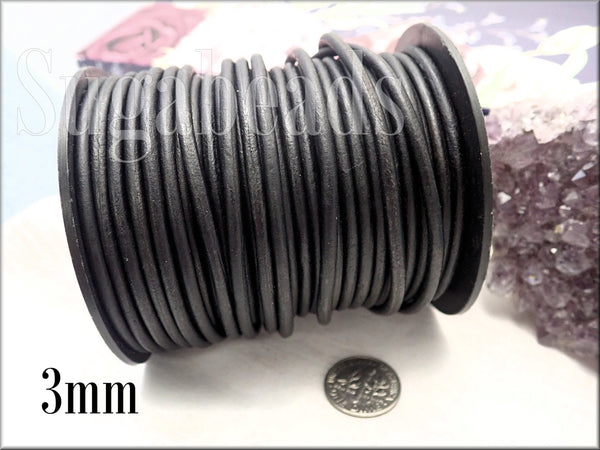 6 Feet Black Leather Cord, 3mm Round Leather Cord