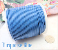 Turquoise Blue Leather Cord 16 feet, 1.5mm Round Leather Cord