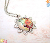 Boho Flower Power Necklace, Pendant and Chain 24 inch