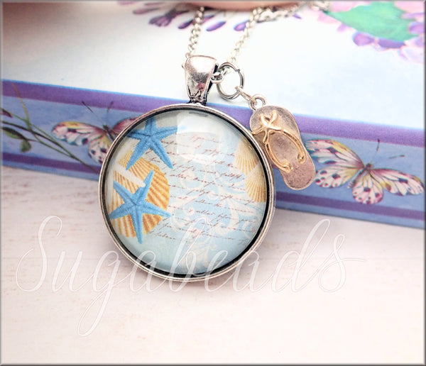 Beach Pendant with Flip Flop Charm, 30 inch Chain