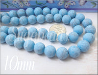 Turquoise Blue Matte Howlite Beads 10mm Full Strand