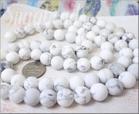 Frosted Matte White & Grey Howlite Beads 10mm