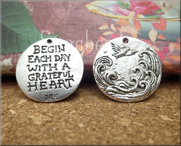 Round Grateful Heart Pendant from Green Girl Studios! Pewter Bird Pendant - sugabeads