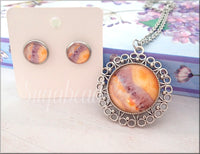 Necklace and Earrings, Sweet Soft Tone Set, Purple, Yellow, and Orange